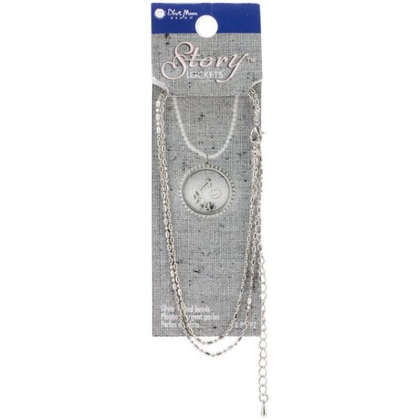 "Blue Moon Story Lockets Necklace 20"" 1/Pkg"