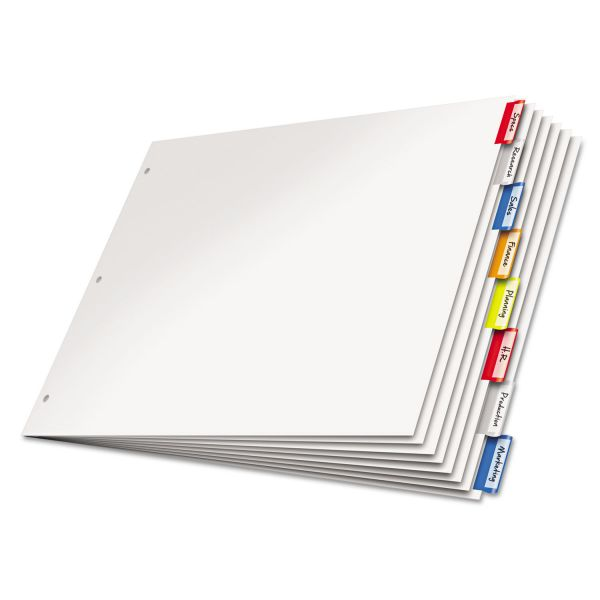 Cardinal Paper Insertable Dividers, 8-Tab, Multi-color Tab, 11 x 17, 1 Set