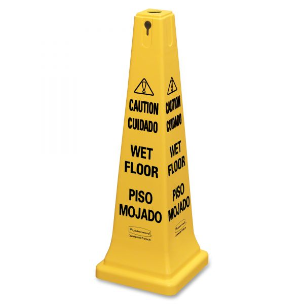 "Rubbermaid Commercial ""Caution/Cuidado Wet Floor/Piso Mojado"" Four-Sided Safety Cone"