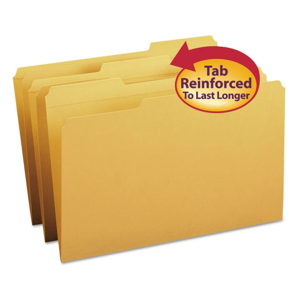 Smead File Folders, 1/3 Cut, Reinforced Top Tab, Legal, Goldenrod, 100/Box