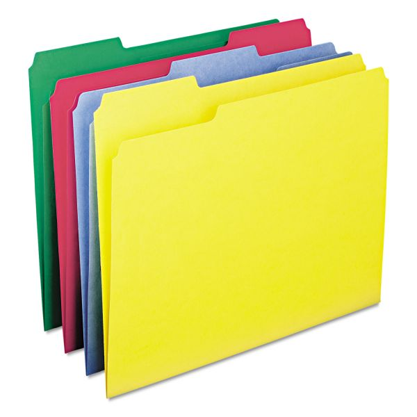 Smead WaterShed/CutLess File Folders, 1/3 Cut Top Tab, Letter, Assorted, 100/Box