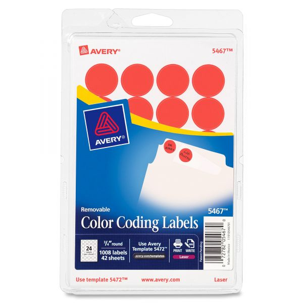 "Avery Printable Removable Color-Coding Labels, 3/4"" dia, Neon Red, 1008/Pack"