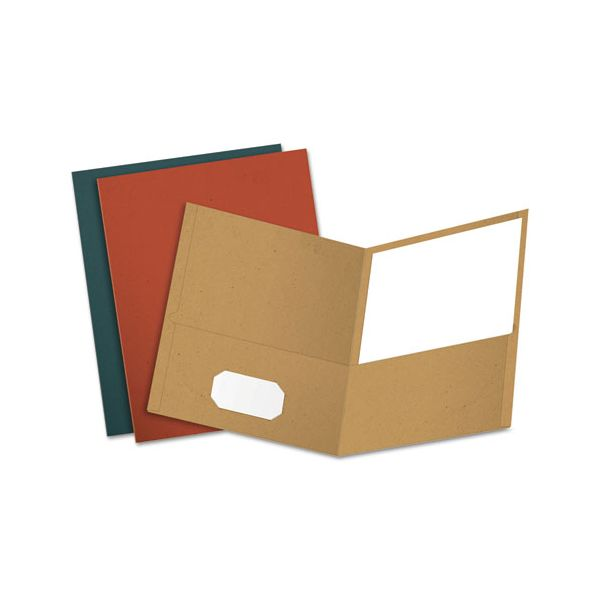 Earthwise by Oxford Recycled Paper Twin-Pocket Portfolio, 100-Sheet Capacity, Assorted Colors, 25/Box