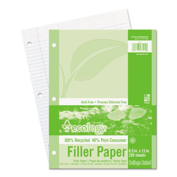 Ecology Recycled College Ruled Loose Leaf Paper