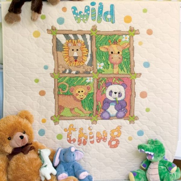 Dimensions Baby Hugs Wild Thing Quilt Stamped Cross Stitch Kit