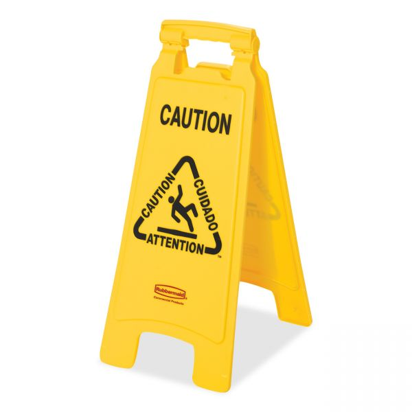 """Rubbermaid Double-Sided """"Caution/Cuidado/Attention"""" Foldable Floor Sign"""