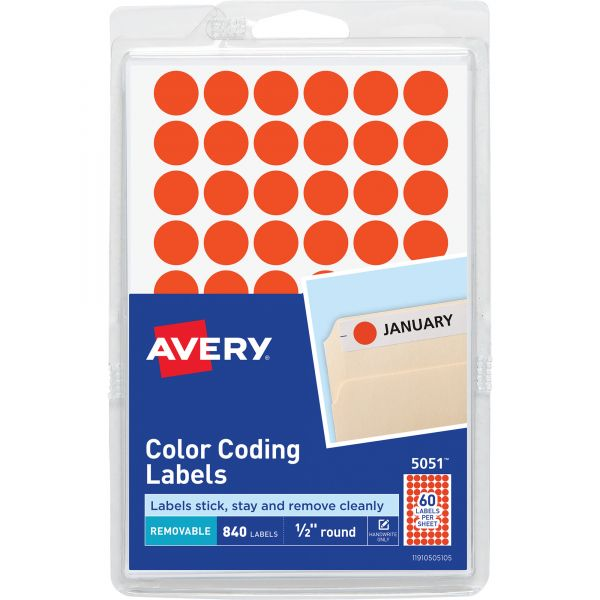 """Avery Handwrite Only Removable Round Color-Coding Labels, 1/2"""" dia, Neon Red, 840/Pack"""