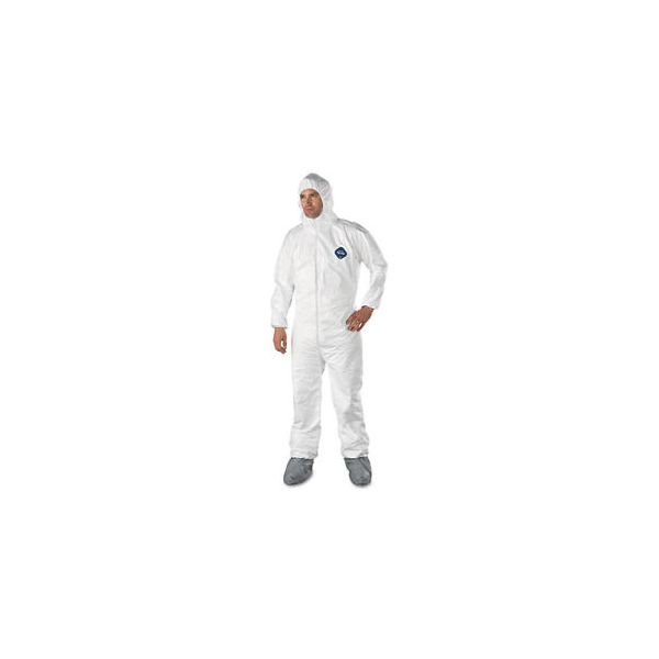 DuPont Tyvek Elastic-Cuff Hooded Coveralls w/Boots, White, 2X-Large, 25/Carton