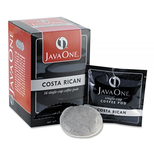 Java One Coffee Pods, Estate Costa Rican Blend, Single Cup, 14/Box