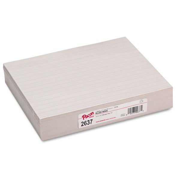 Pacon Skip-A-Line Ruled Newsprint Paper, 30 lbs., 11 x 8-1/2, White, 500 Shts/Pack