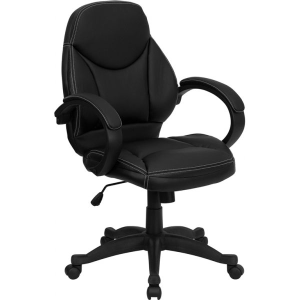 Flash Furniture Mid-Back Leather Contemporary Executive Office Chair