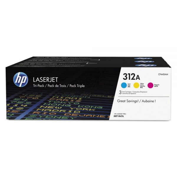 HP 312A Cyan/Magenta/Yellow Toner Cartridges (CF440AM)