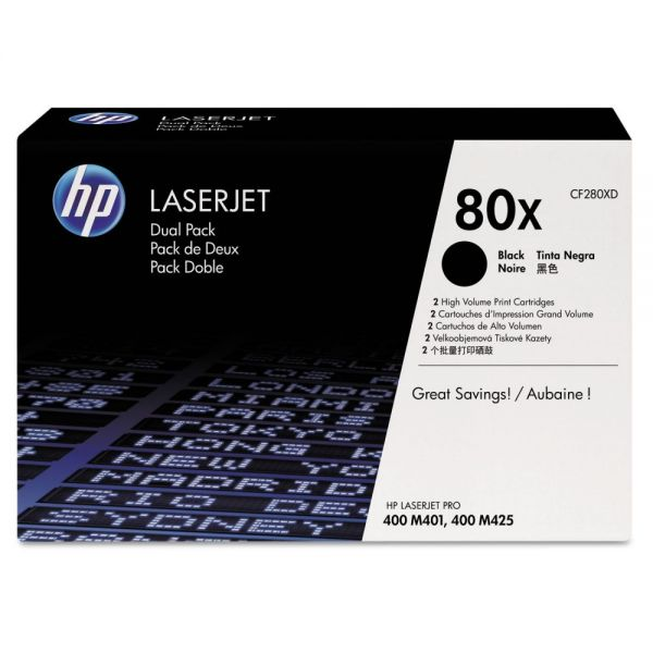HP 80X Black High Yield Toner Cartridges (CF280XD)