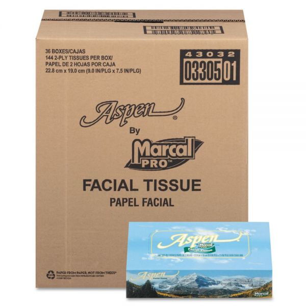 Marcal Aspen 100% Recycled 2-Ply Facial Tissues