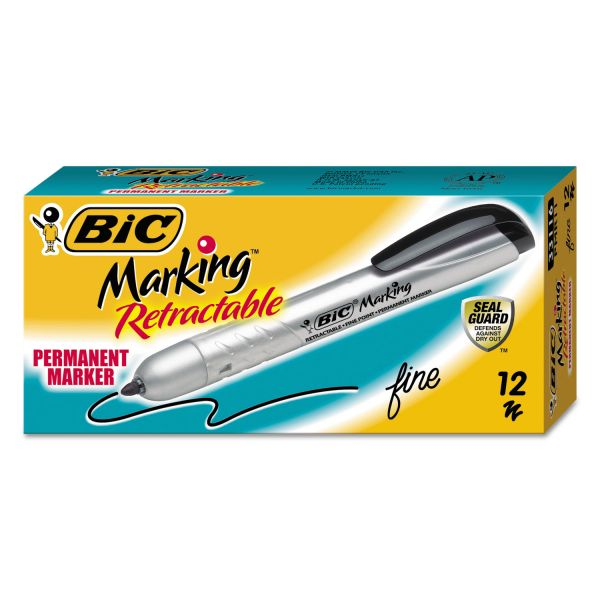 BIC Mark-It Retractable Fine Point Black Permanent Markers
