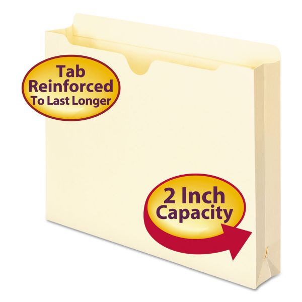 "Smead Manila File Jackets, 2"" Exp, Letter, 11 Point, Manila, 50/Box"