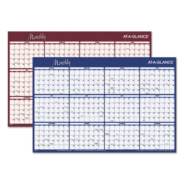 AT-A-GLANCE Reversible Horizontal Erasable Wall Planner, 36 x 24, 2019
