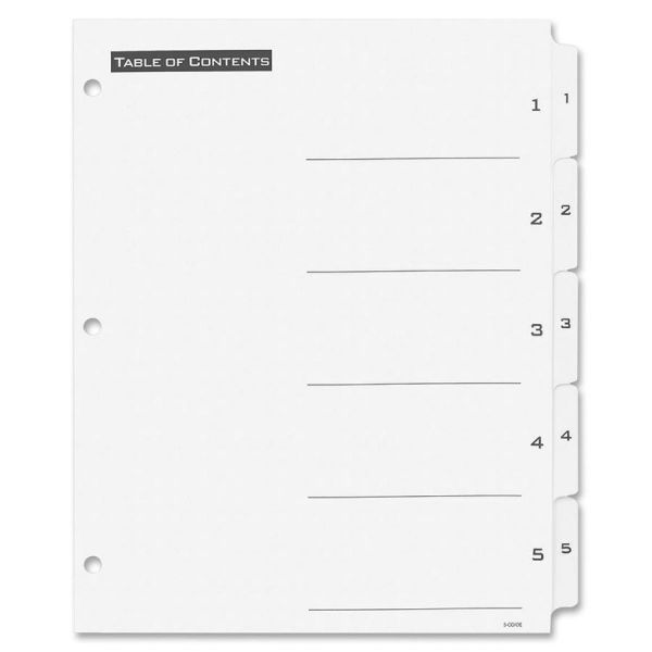 Avery Table of Content Numbered Tab Index Dividers