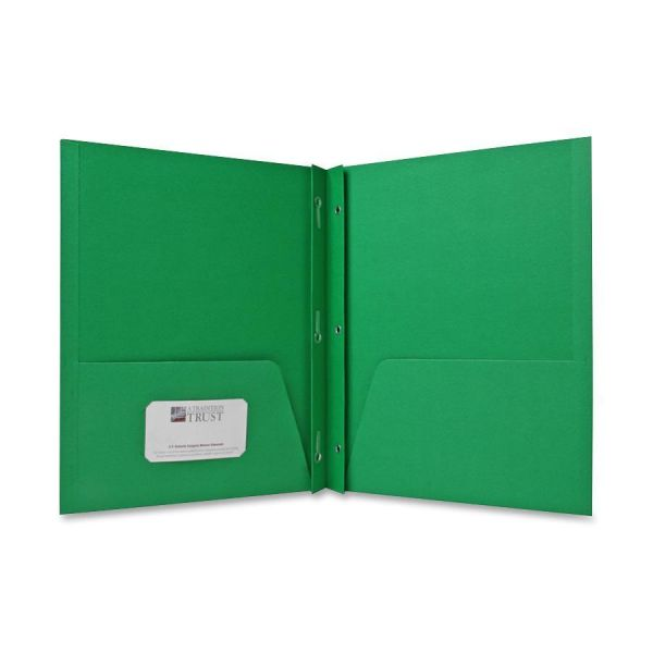 Sparco Green Two Pocket Folders with Fasteners