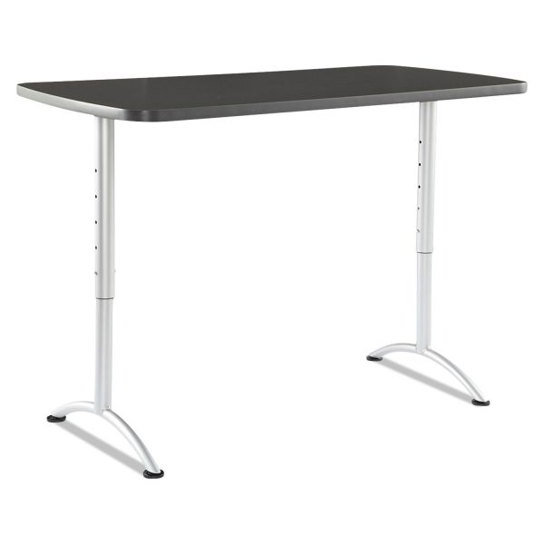 Iceberg ARC Sit-to-Stand Tables, Rectangular Top, 30w x 60d x 30-42h, Graphite/Silver