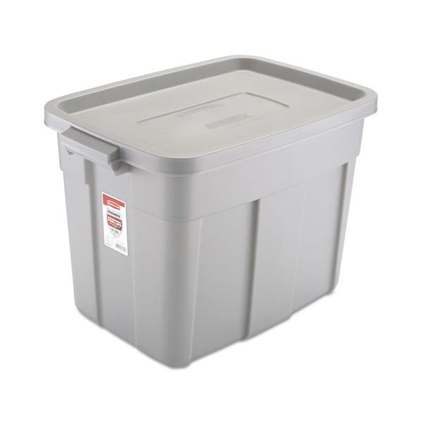Rubbermaid Commercial Roughneck Storage Box, 16 x 24 x 16 1/2, 18 Gallon, Steel Gray