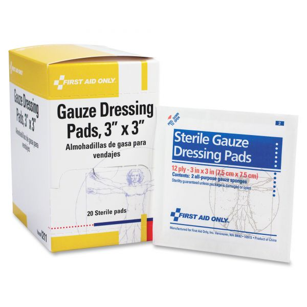 First Aid Only Gauze Dressing Pads, 3 x3, 10/box