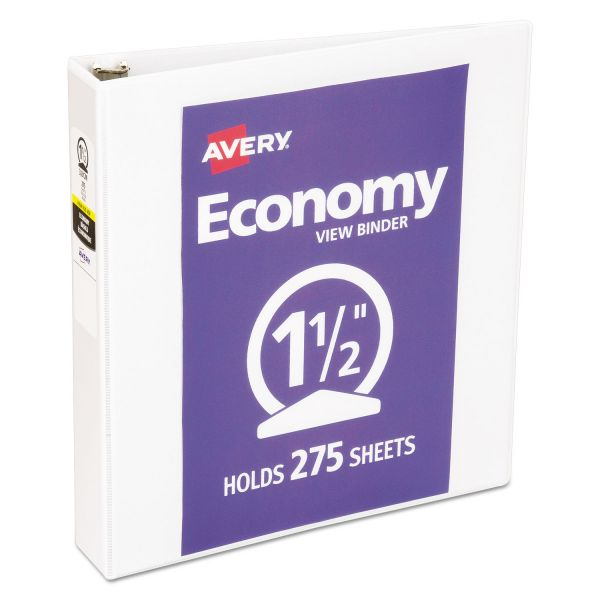 "Avery Economy 3-Ring View Binder, 1 1/2"" Capacity, Round Ring, White"