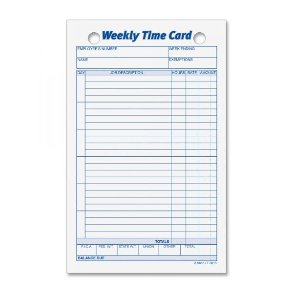 TOPS Handwritten Weekly Time Cards