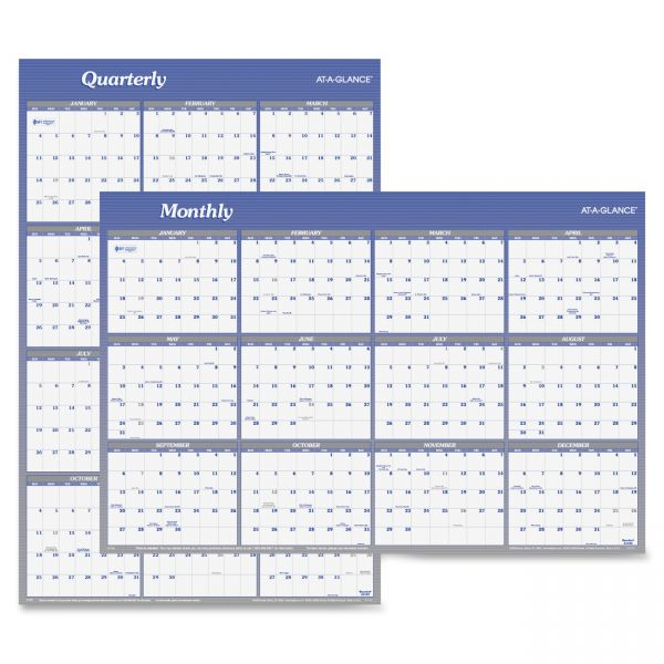 AT-A-GLANCE Vertical/Horizontal Erasable Wall Planner, 32 x 48, 2018