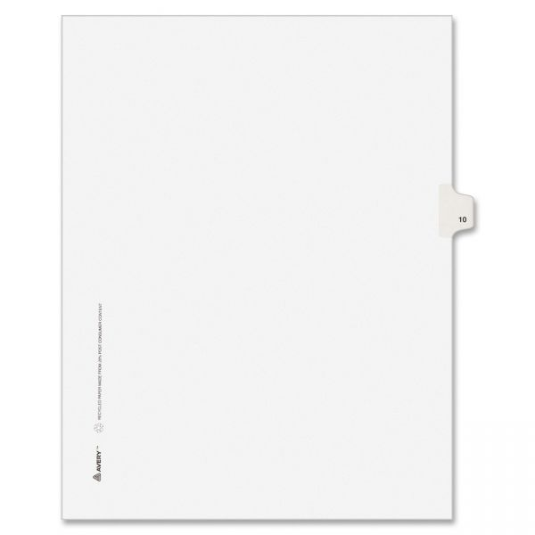 Avery Allstate-Style Legal Exhibit Side Tab Divider, Title: 10, Letter, White, 25/Pack