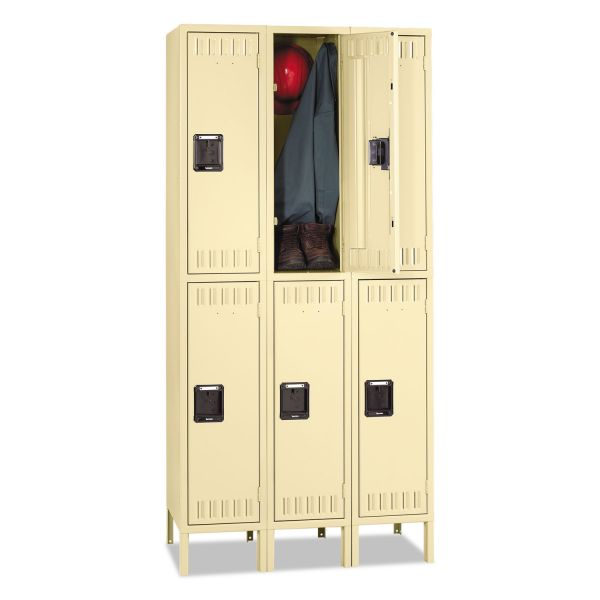 Tennsco Double Tier Locker with Legs, Triple Stack, 36w x 18d x 78h, Sand