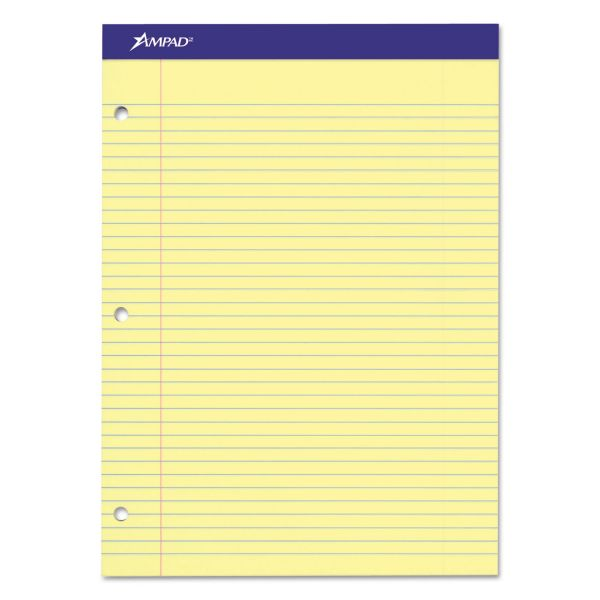 Ampad Double Sheets Pad, College/Medium, 8 1/2 x 11 3/4, Canary, 100 Sheets