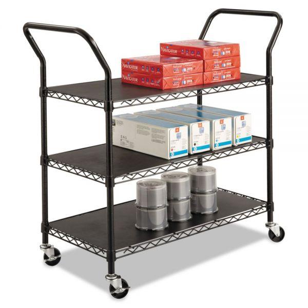 Safco Wire Utility Cart, Three-Shelf, 43-3/4w x 19-1/4d x 40-1/2h, Black