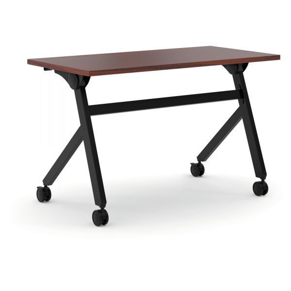 HON Multipurpose Table Flip Base Table, 48w x 24d x 29 3/8h, Chestnut