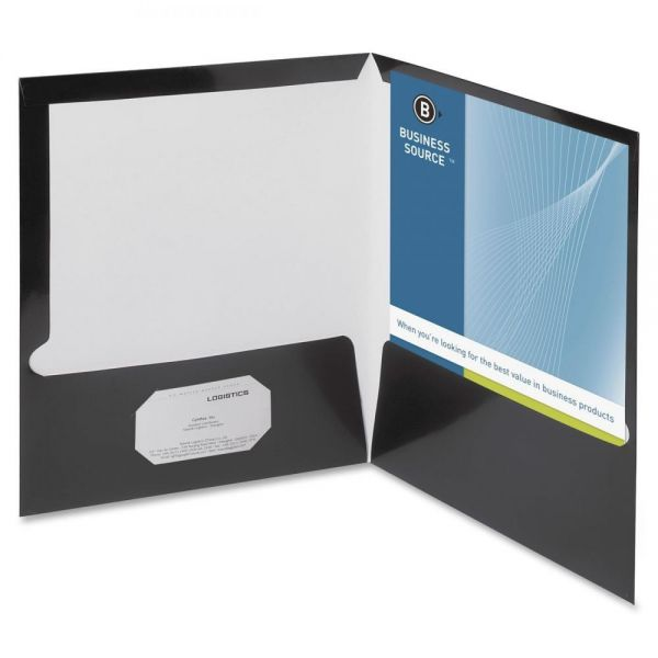 Business Source Laminated Black Two Pocket Folders