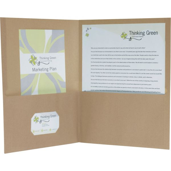 Oxford Earthwise by Oxford 100% Recycled Paper Twin-Pocket Portfolio, Natural