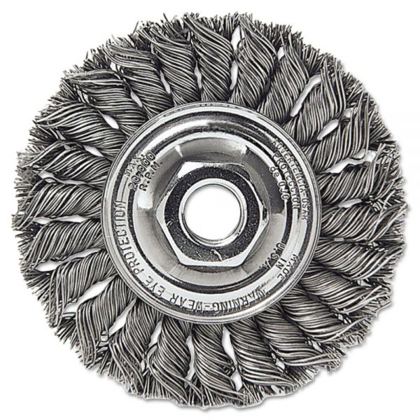 "Weiler Dualife STA-4 Twist Knot Wire Wheel, 4"" dia, .02 Wire"