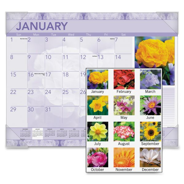 Visual Organizer Antique Floral Photographic Monthly Desk Pad Calendar