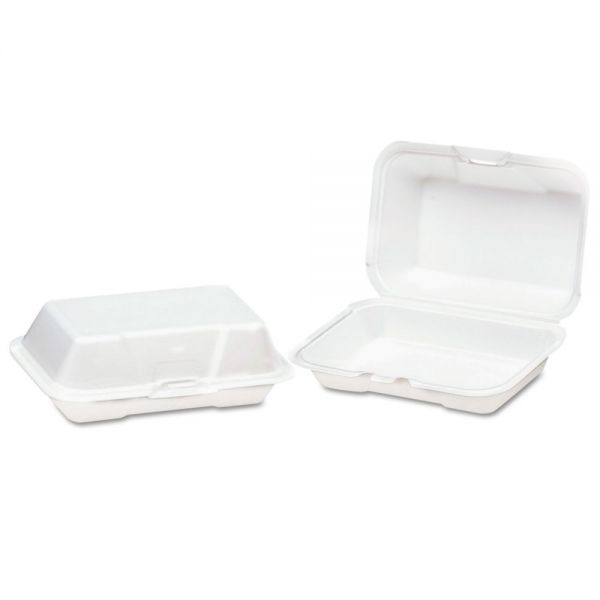 Genpak Foam Hinged Carryout Container, Deep, 8-1/4x5-1/5x3, White, 125/Bag, 4 Bags/CT