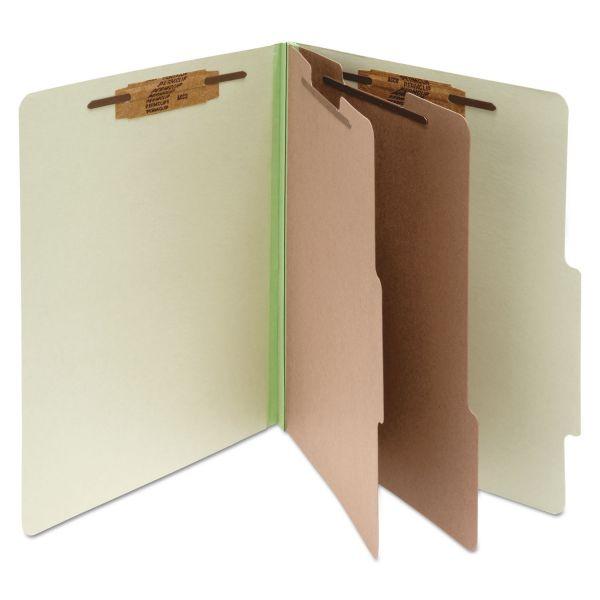 ACCO Pressboard 25-Pt Classification Folders, Legal, 6-Section, Leaf Green, 10/Box