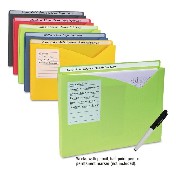 """C-Line Write-On Expanding Poly File Folders, 1"""" Exp., Letter, Assorted Colors, 10/BX"""