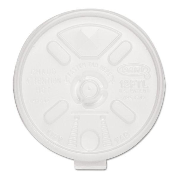 Dart Liftn'Lock Lids, 10-14oz Cups, Translucent, 100/Sleeve, 10 Sleeves/Carton
