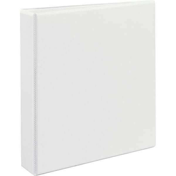 "Avery Heavy-Duty Non Stick 3-Ring View Binder, 1 1/2"" Capacity, Slant Ring, White"