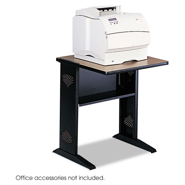 Safco Fax/Printer Stand with Reversible Woodgrain Top, 24 x 28 x 30, Black