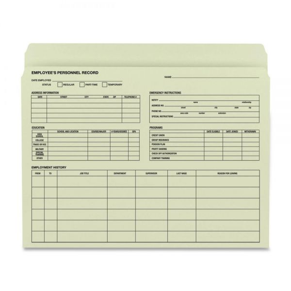 Smead 77000 Moss Employee Record File Folders