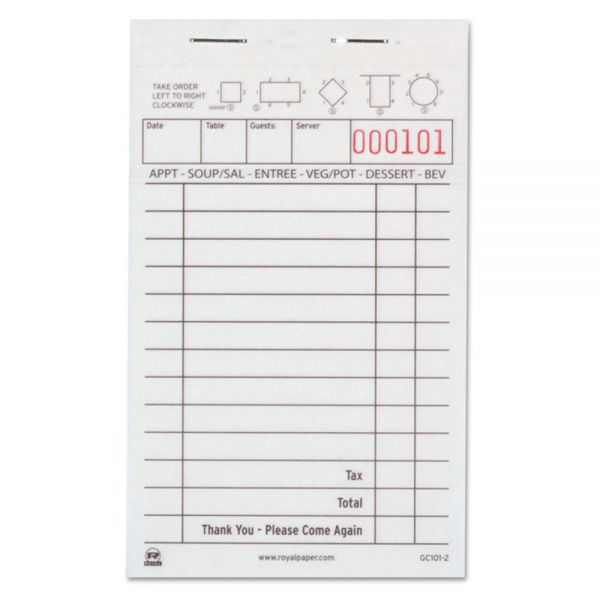 Royal Guest Check Book, Carbonless Duplicate, 50/Book, 100/Book, 50 Books/Carton