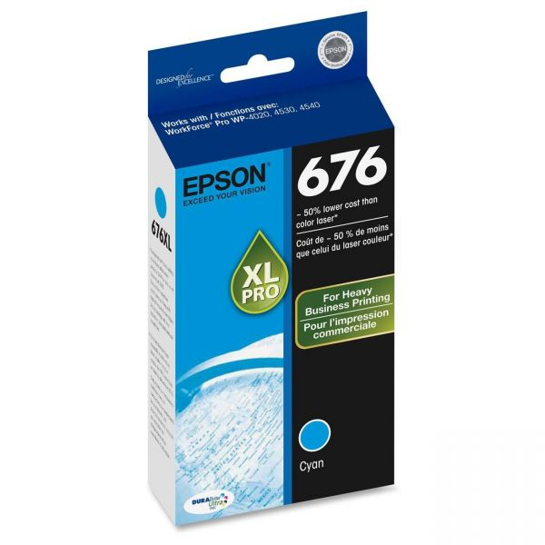 Epson 676 XL Cyan High Yield Ink Cartridge (T676XL220)