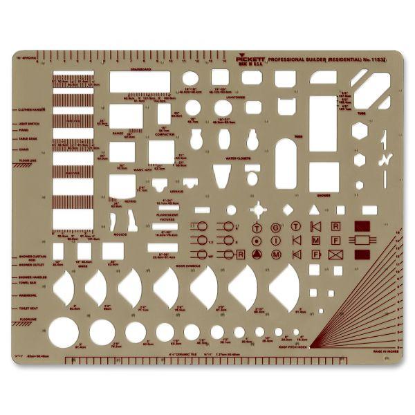 "Chartpak Templates, Architect & Builder Symbols, 8"" x 10"", Smoke"