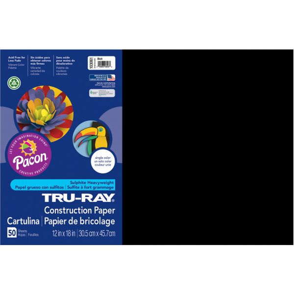 Tru-Ray Black Construction Paper
