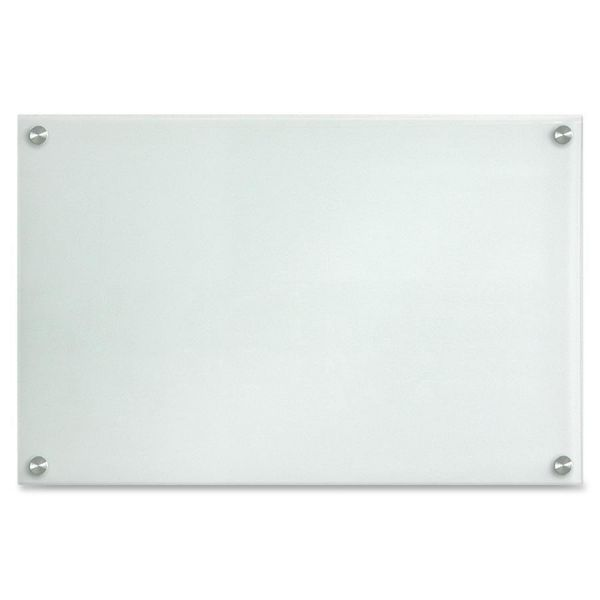 "Lorell 24"" x 14"" Frosted Glass Dry Erase Whiteboard"